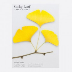 Appree Sticky Leaf Memo, Ginkgo Yellow 3 Leaf Set
