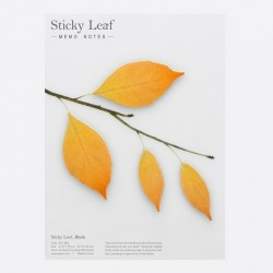 Appree Sticky Leaf Memo, Autumn Birch Yellow 4 Leaves Set
