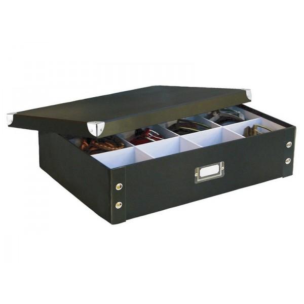 boite rangement cravates et ceintures carton noir zeller 17789. Black Bedroom Furniture Sets. Home Design Ideas
