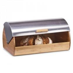 Zeller 25344 Bread Storage Bin, Roll Top, Bamboo, Stainless steel