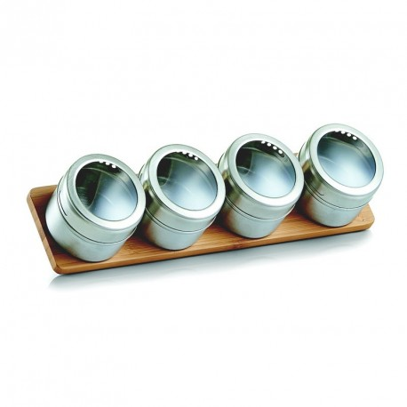 support a epices magnetique bois bambou 5 pots en inox zeller 19980
