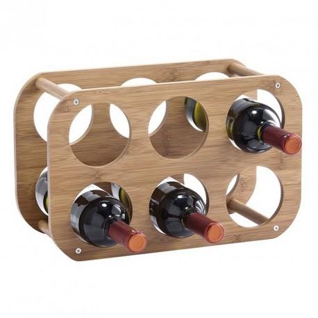 etagere rangement 6 bouteilles en bois bambou zeller 13559