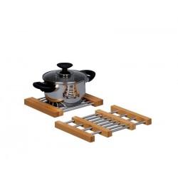 dessous de plat extensible bois acier inox zeller 25299