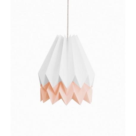 abat-jour origami en papier blanc bande rose Orikomi