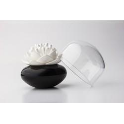 Boîte à coton tiges originale lotus Qualy noir et blanc