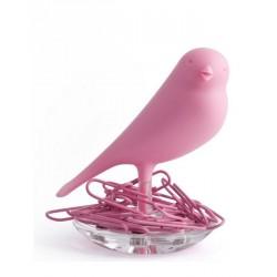 Qualy QL10069PK Nest Sparrow Paper Clip Holder - Pink