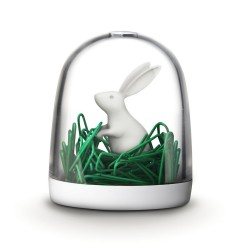 "Qualy QL10130WH ""Bunny in the field"" Soporte para clips de oficina"