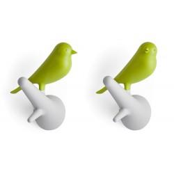 Patère oiseau vert blanc Qualy hook sparrow (set de 2)