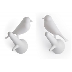 Patere murale oiseau blanc qualy hook sparrow QL10067WH-WH