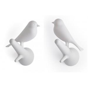 Patère murale oiseau blanc qualy hook sparrow (set de 2)