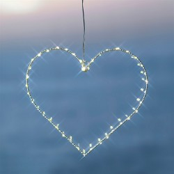 Coeur lumineux led fil de fer blanc sirius liva heart small
