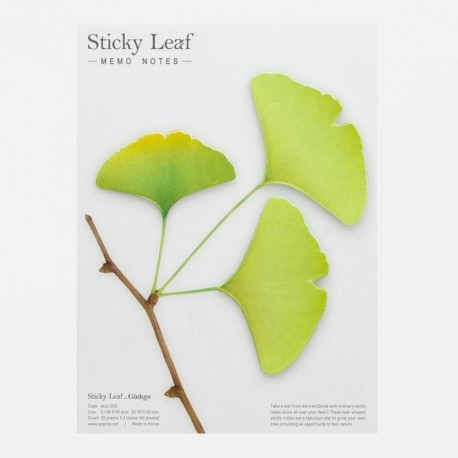 Notes sticky leaf gingko printemps appree