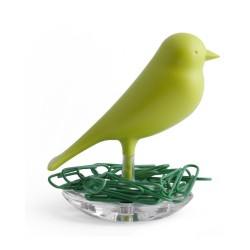 Qualy QL10069GN Nest Sparrow Paper Clip Holder - Green