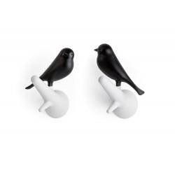 Portemanteau moineau noir blanc qualy QL10067WH-BK