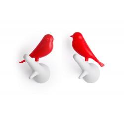 Qualy QL10067WH-RD Qualy hook sparrow Gancho de pared, diseño de gorrión sobre rama (2 unidades), blanco y rojo