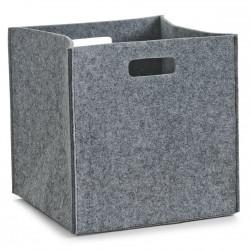Corbeille rangement carrée feutre gris zeller 32 x 32 x 32 cm