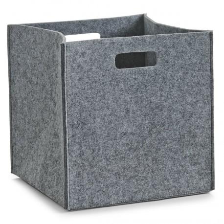 Corbeille rangement carree feutre gris zeller 14321