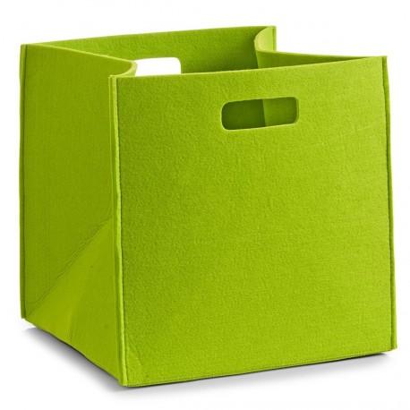 Panier rangement carré feutre vert zeller 32 x 32 x 32 cm