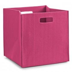 Corbeille rangement cube feutre rose zeller 14323