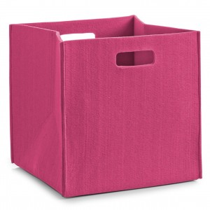 Corbeille rangement cube feutre rose zeller 32 x 32 x 32 cm