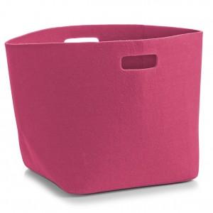 Panier rangement rose design en feutre zeller 32 x 32 x 32 cm