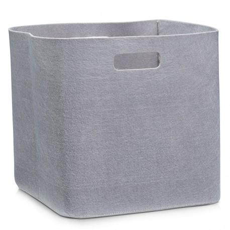 Corbeille rangement design feutre taupe zeller 32 x 32 x 32 cm
