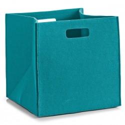 Panier carre rangement en feutre bleu turquoise zeller 14324