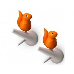 Crochet mural ecureuil orange qualys quirrel hook QL10088WH-OR