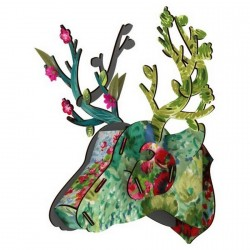 Trophée cerf fleuri décoration murale bois Miho Self-portrait