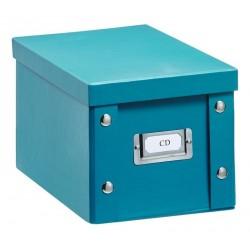 Boîte rangement CD carton bleu canard zeller
