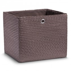 Corbeille rangement carrée textile marron Zeller