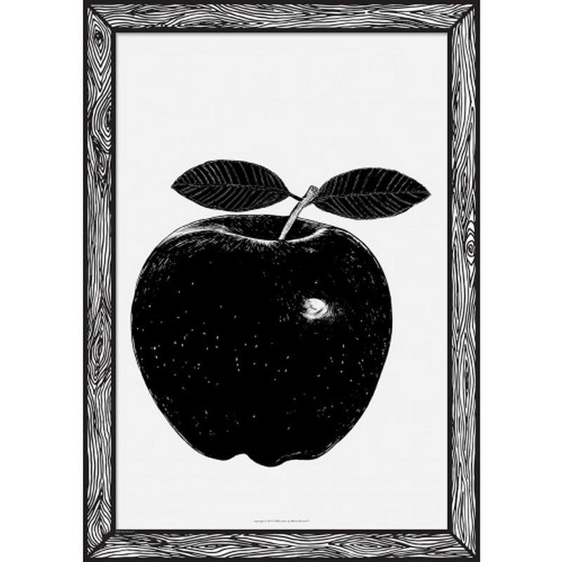 affiche deco originale pomme noire black apple the prints by marke newton. Black Bedroom Furniture Sets. Home Design Ideas