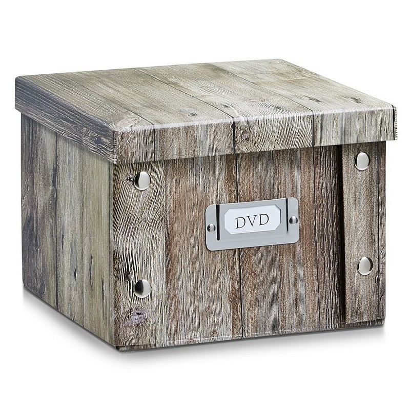 zeller 17866 dvd box wood boite a dvd deco en carton. Black Bedroom Furniture Sets. Home Design Ideas
