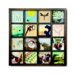 Cadre carré multi-photos 16 vues bois noyer umbra gridart