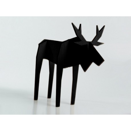 sculpture en bois renne noir nordic puzzle atelier pierre