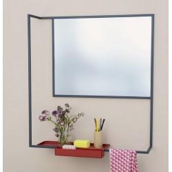 Miroir design métal gris ardoise et tablette rouge bordeaux presse citron romi
