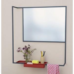 miroir design avec tablette metal noir presse citron romi. Black Bedroom Furniture Sets. Home Design Ideas