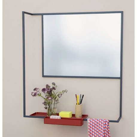 Miroir design avec tablette metal noir presse citron romi for Miroir design noir