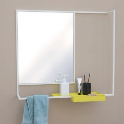 Miroir étagère design métal blanc et tablette jaune presse citron romi