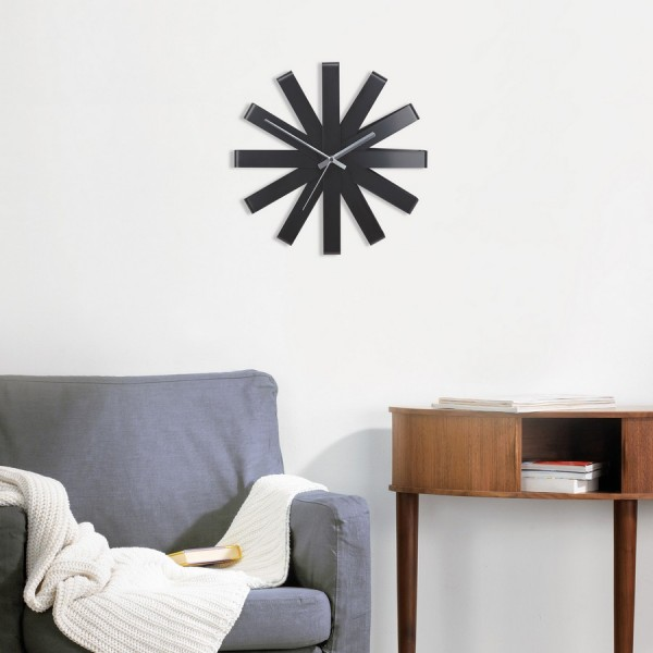 Umbra 118070 040 ribbon horloge murale design acier noir - Umbra deco murale ...
