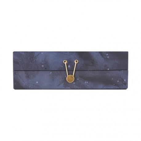 House Doctor boîte à bijoux déco carton avec compartiments bleu étoiles