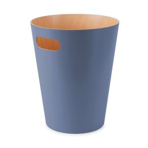 umbra 082780-755 woodrow poubelle en bois bleu gris
