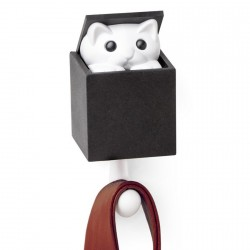 Qualy patere chat dans la boite peekaboo kitty QL10210BK