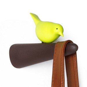 portemanteau oiseau qui bouge qualy picky bird QL10211BN-GN marron vert