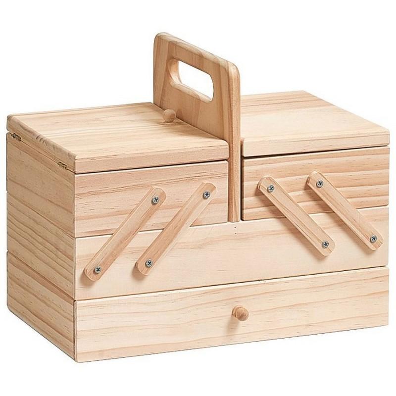 Boite a couture bois de pin naturel zeller 13390 for Boite a couture design