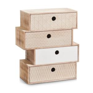 petit meuble en bois deco vintage bloc de 4 tiroirs zeller nordic 15112