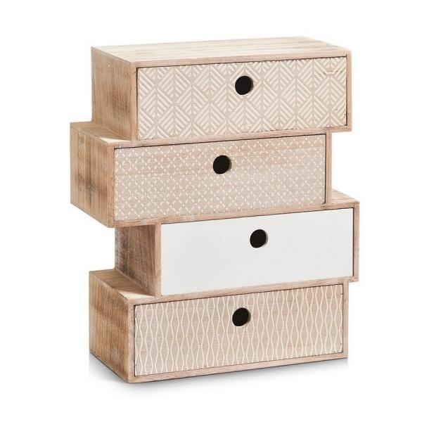 Petit meuble en bois deco vintage bloc de 4 tiroirs zeller for Petit meuble en bois