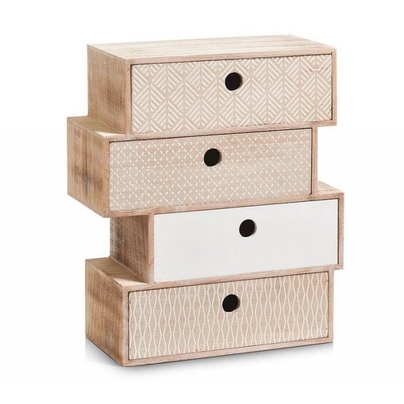 petit meuble en bois deco vintage bloc de 4 tiroirs zeller nordic 15112. Black Bedroom Furniture Sets. Home Design Ideas