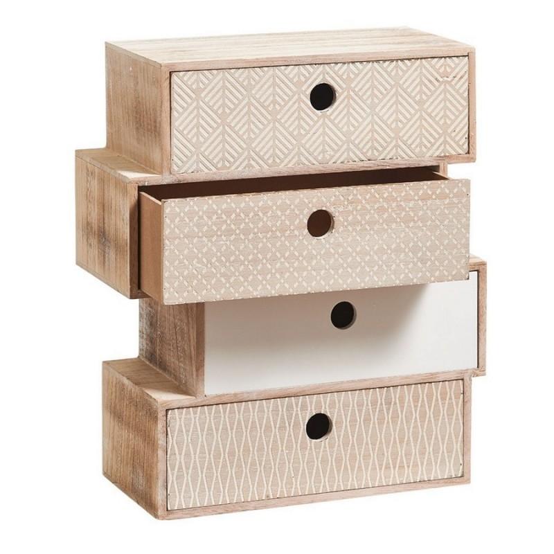 Petit meuble en bois deco vintage bloc de 4 tiroirs zeller for Petit meuble 4 tiroirs