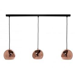 Lampe suspension 3 boules alignées métal cuivré poli Frandsen Ball Track
